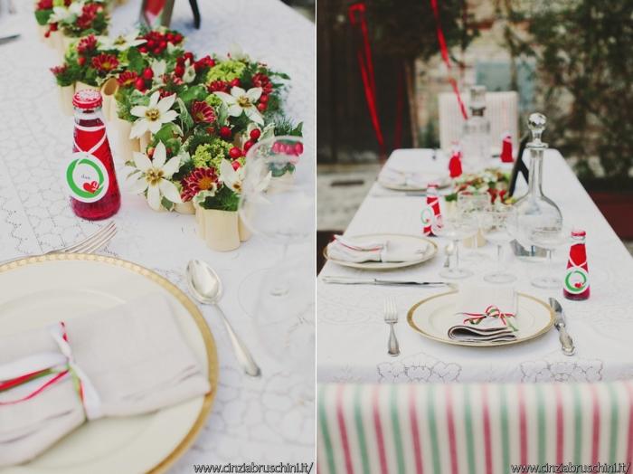 allestimento rosso e verde, centro tavola con rosso,