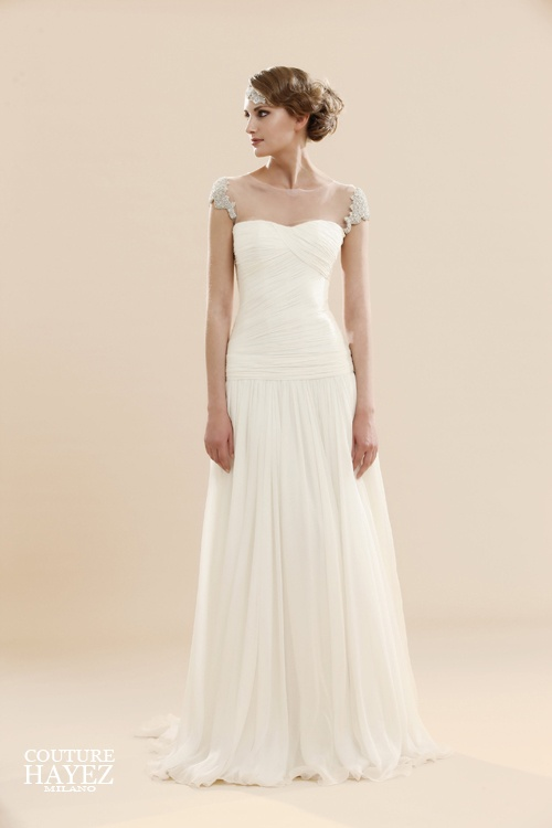 spalline gioiello, abito sposa chiffon,abito drappeggiato,abito off white