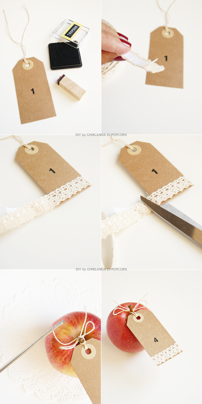 DIY apple-table number {Ghirlanda di Popcorn}, tag wedding, tutorial tag segnaposto,
