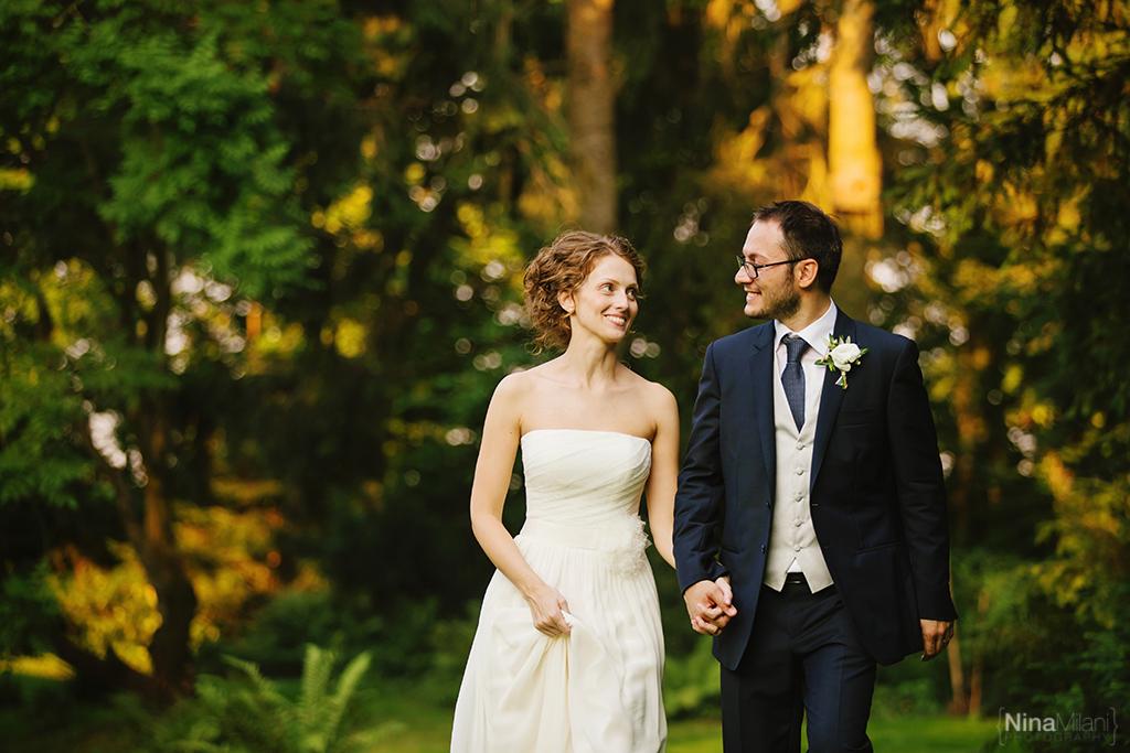 foto sposi a cascina farisengo, foto sposi al parco di cascina farisengo, abito couture hayez