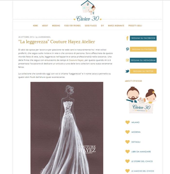 Couture Hayez Atelier su Civico30