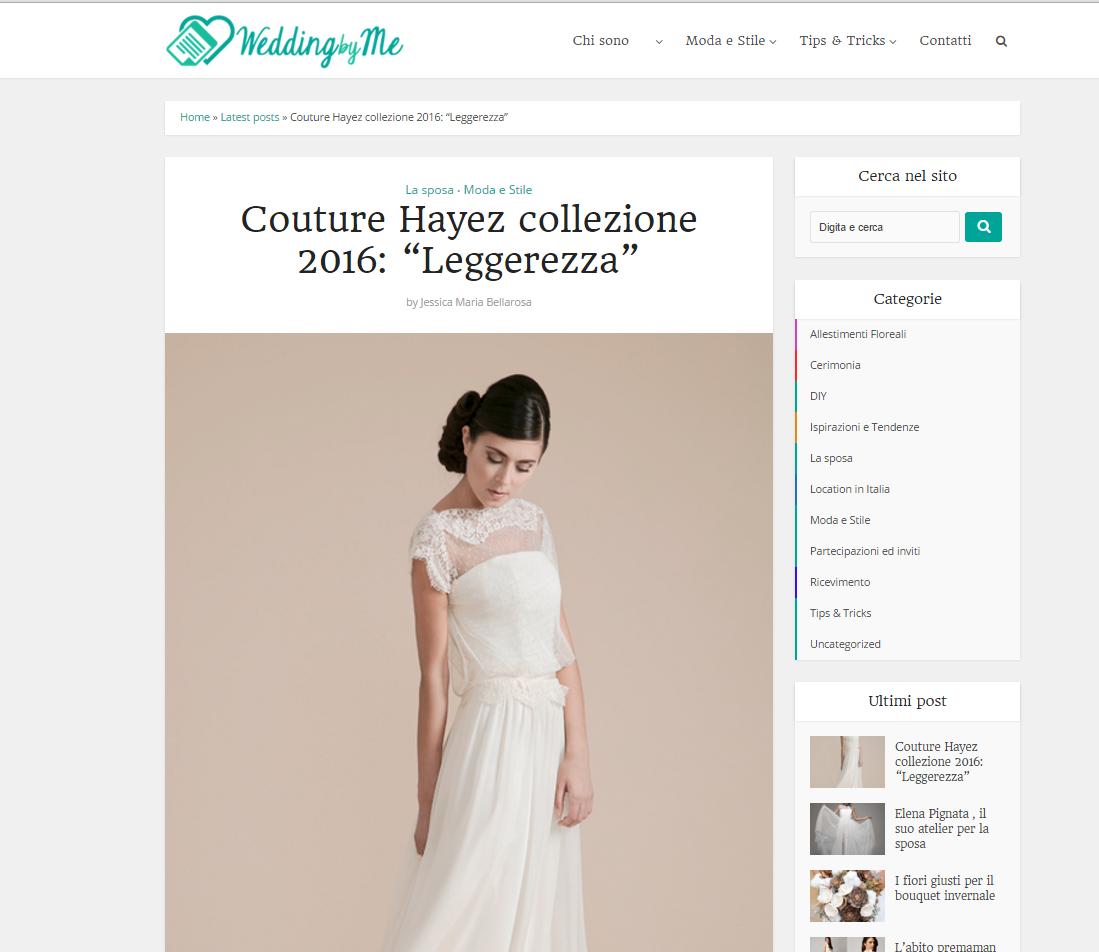 Couture Hayez su Wedding By me