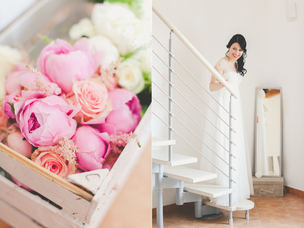 abito sposa stile impero, abiti sposa in tulle, spose couture hayez, bouquet peonie rosa