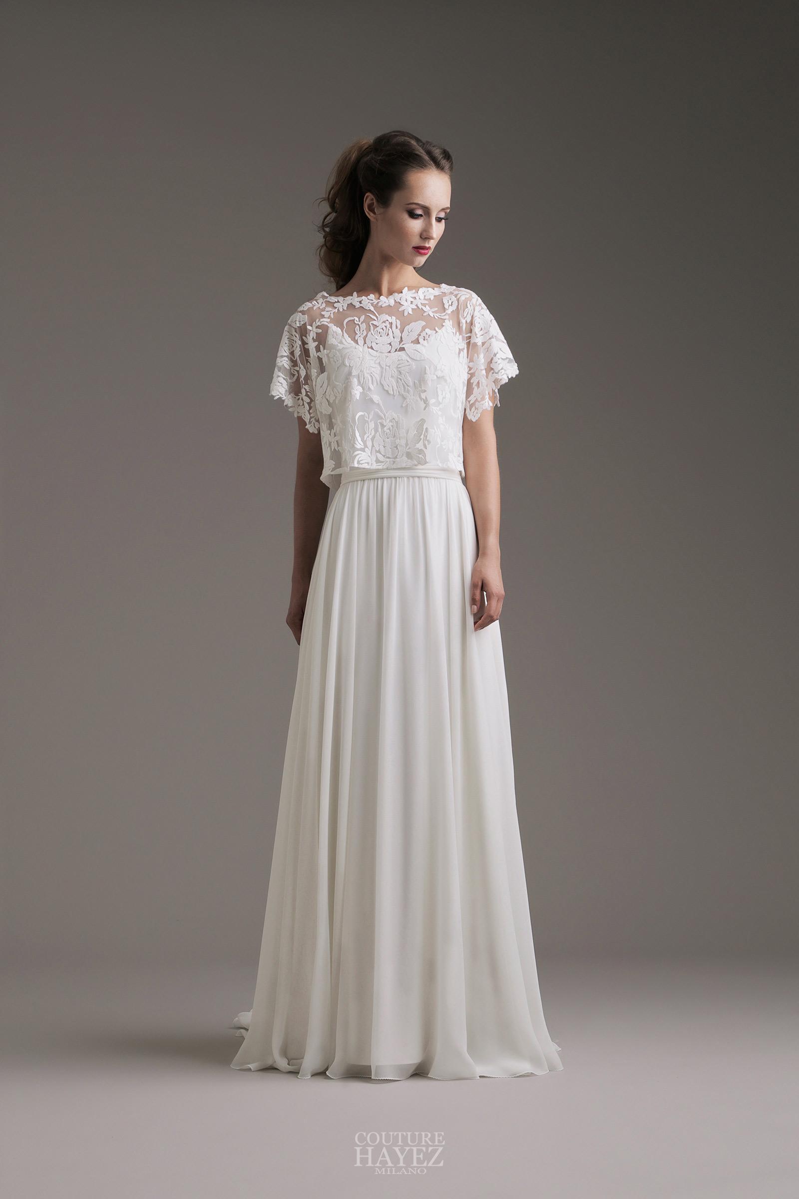 Conosciuto Lisa: abito con crop top in tulle ricamato - Couture Hayez Milano XH21