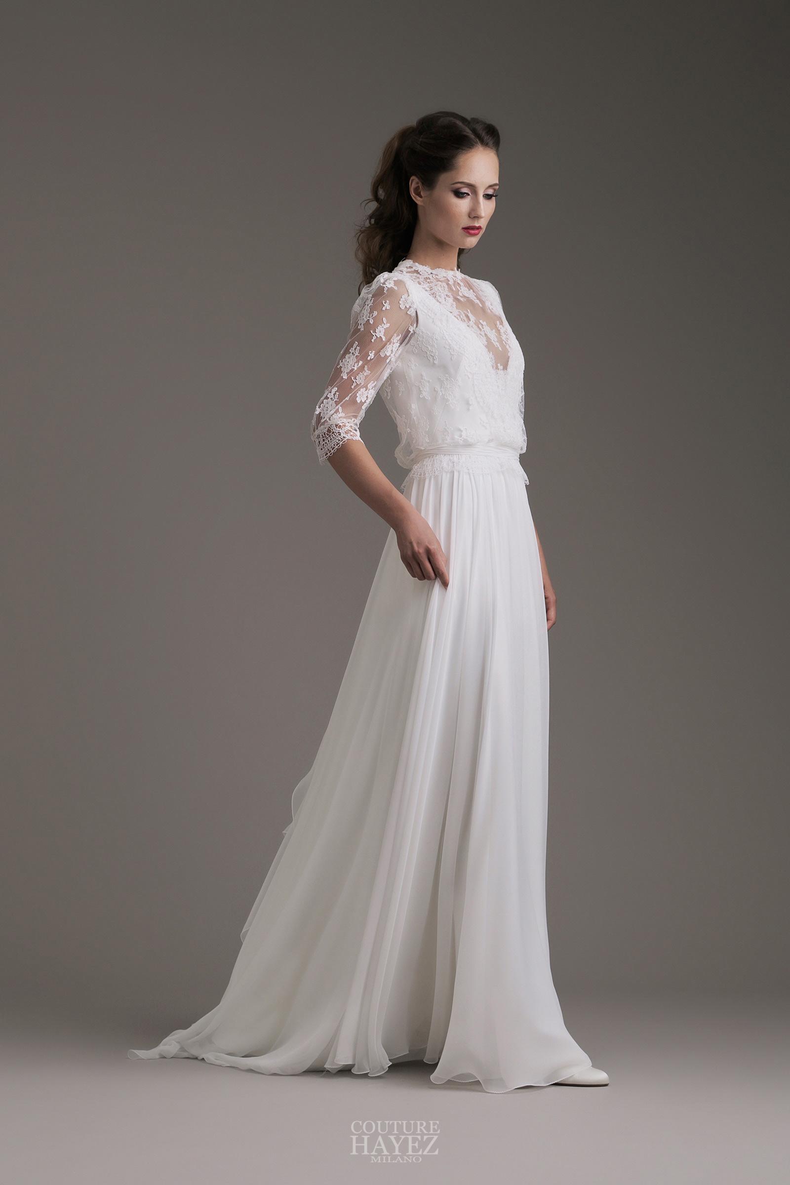 Eccezionale Sarah: abito sposa con maniche in pizzo - Couture Hayez Milano LS15