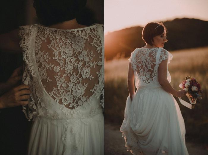 sposa al tramonto, dettagli retro abito sposa, pizzo francese, boho