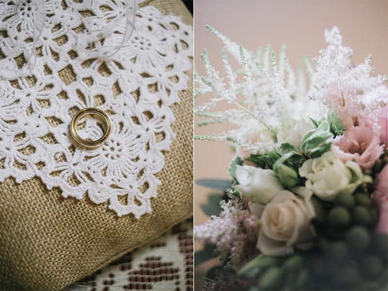 cuscinetto portafedi con pizzo, portafedi country-chic, dettaglio bouquet colori pastello