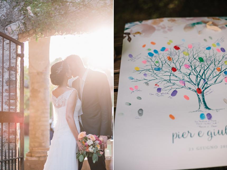bacio sposi al tramonto, guestbook ospiti con impronte colorate,