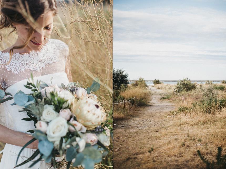 blusa pizzo e tulle plumetis couture hayez, bouquet sposa scomposto, spiaggia vista mare