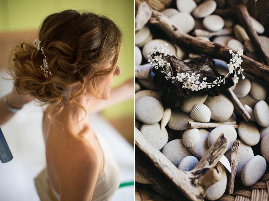 capelli sposa boho, pettinino perline e fiori piccoli , acconciatura sposa 2018