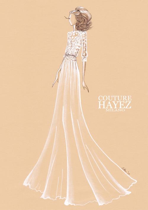 figurino couturehayez, alta moda sposa, abiti sposa in pizzo, sketch