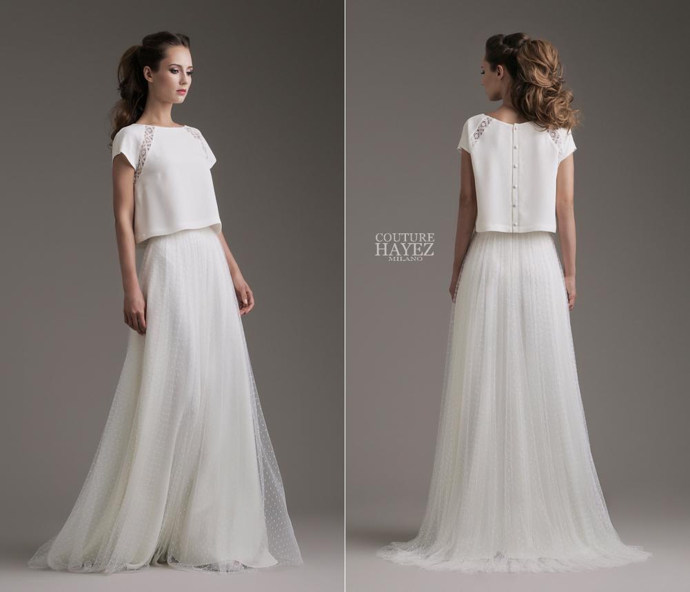 couture hayez 2019, abito sposa due pezzi, abito sposa milano, abito sposa semplice