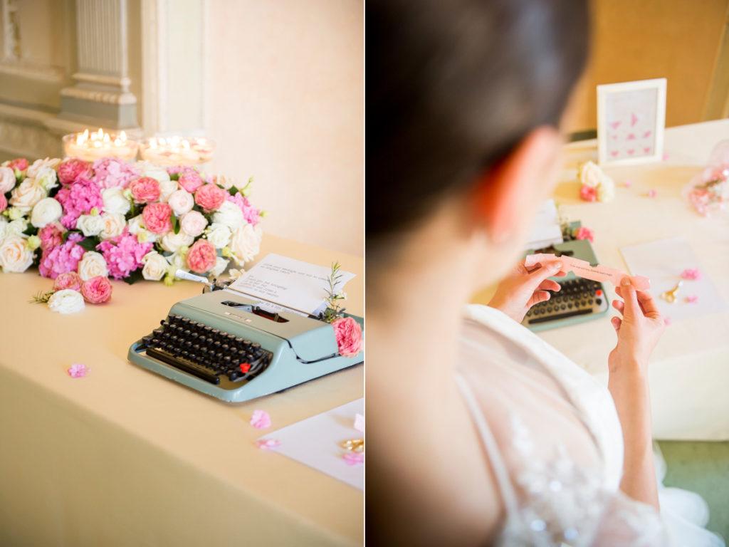guestbook con macchina da scrivere olivetti, reggia di monza, fiori florpassion