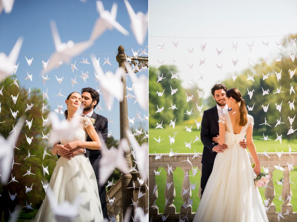 photobooth degli sposi esterno con origami, foto gabriele basilico, abito sposa 2019