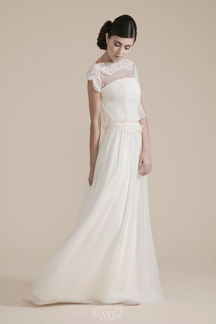 abito sposa con blusa, abito sposa spalle coperte, abito sposa pizzo sulle spalle