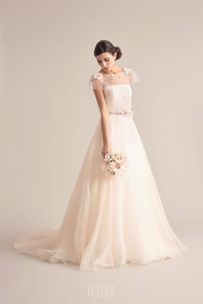 abito sposa organza, abito sposa rosa chiaro, abito sposa pesca