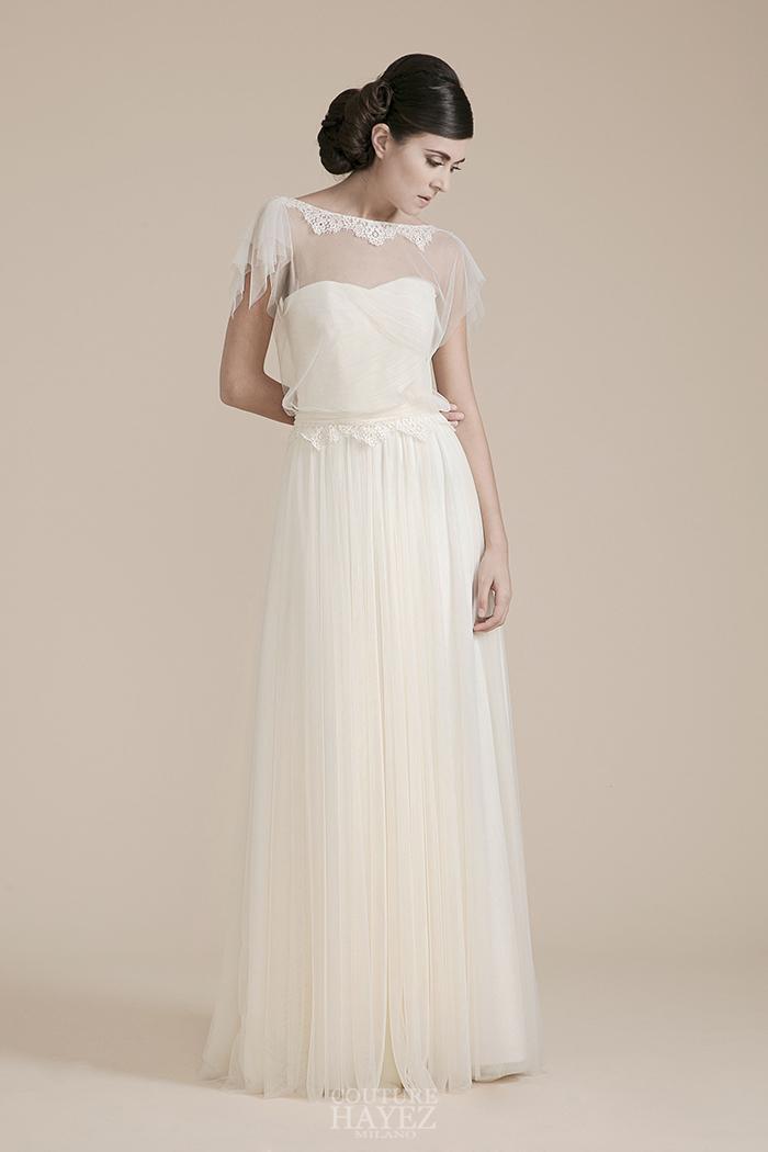 abito sposa drappeggio alta moda, abiti sposa lavorati sartorialmente, abiti sposa artigianali milano