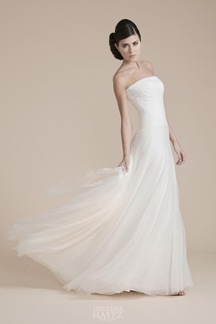abito sposa gonna pois, abito sposa tulle plumetis, abito sposa bustier drappeggiato