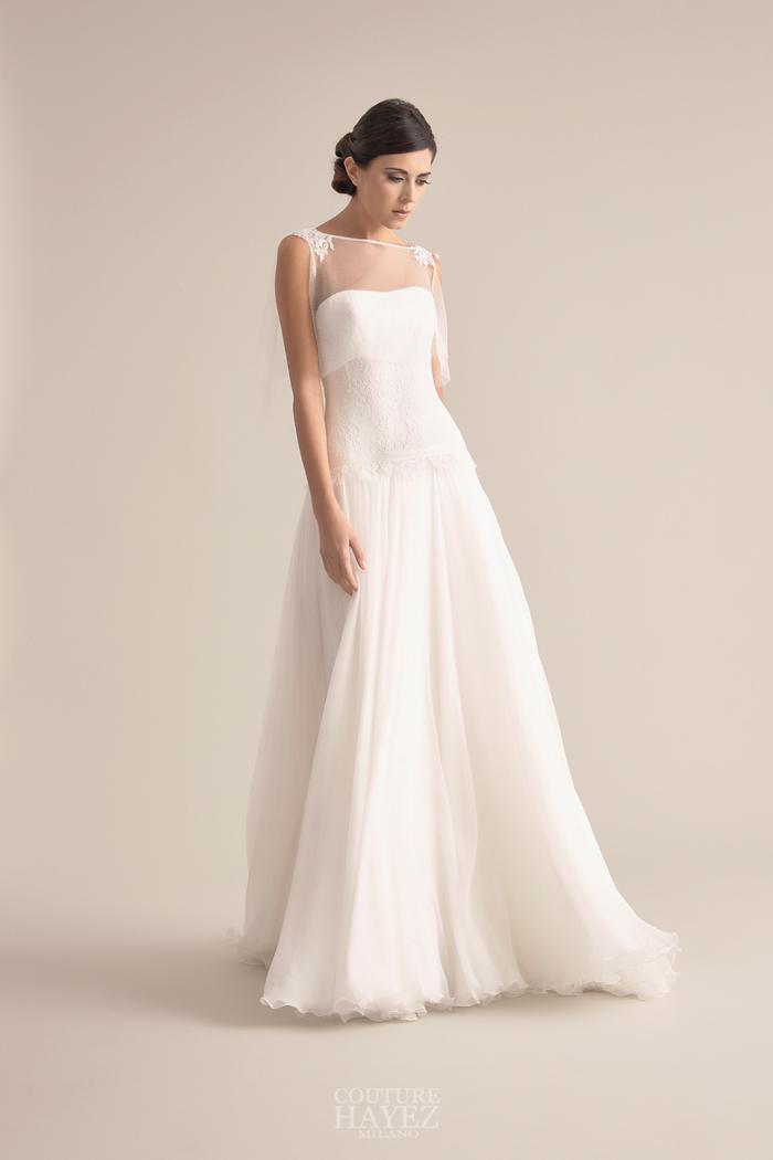 abito sposa in chiffon di seta, abito sposa lineare, abiti sposa alta moda milano