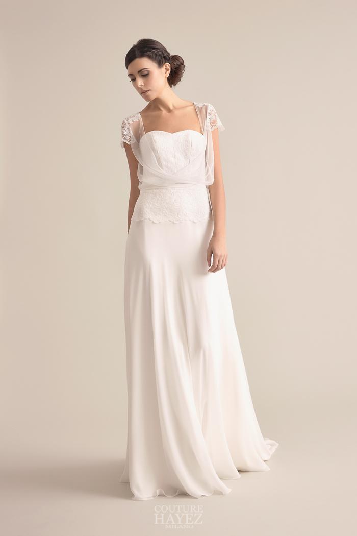 abito sposa con blusa, abito sposa in georgette, abiti sposa leggeri