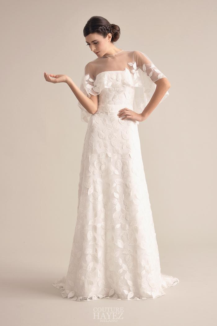 abito sposa mantellina tulle, abito sposa foglie, abito sposa ispirazione natura