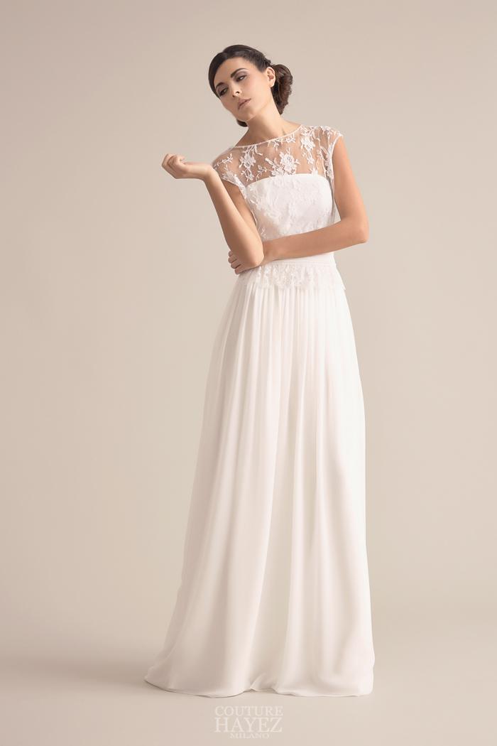 abiti sposa alta moda milano, sposa pizzo sulle spalle