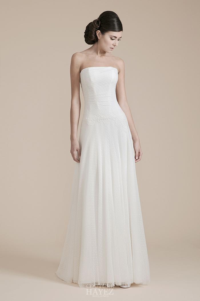 abito sposa bustier, abito bustier bianco, abito sposa con drappeggio