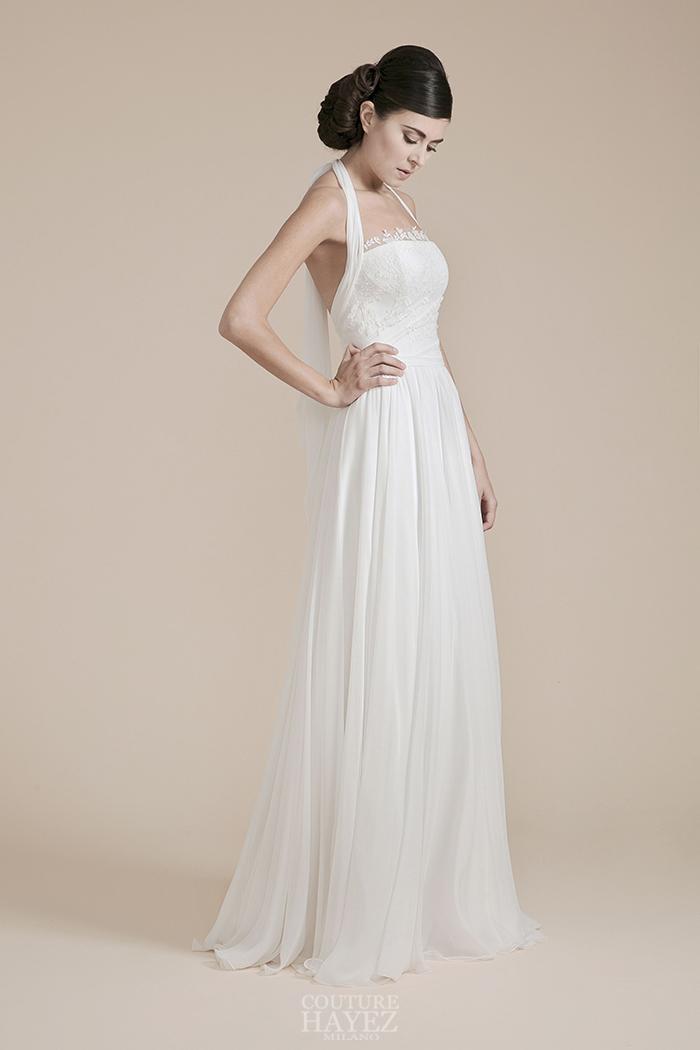 abito sposa sartoriale, abito sposa nastro sulle spalle, abito sposa scivolato leggero