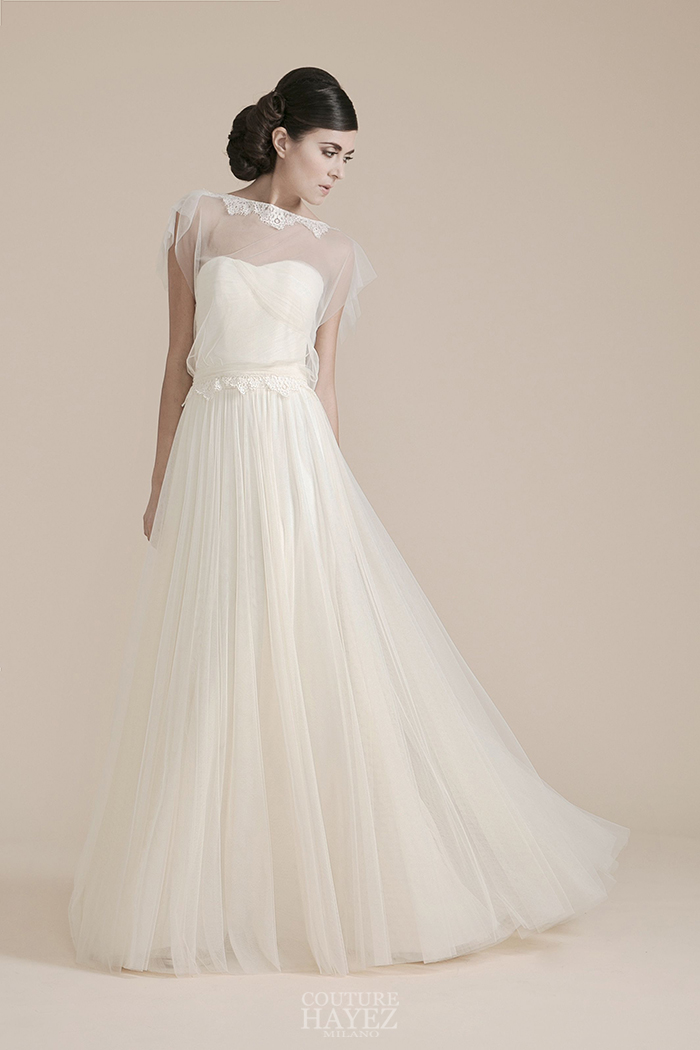 abito sposa in tulle, abito sposa con coprispalle, abito sposa decollete coperto