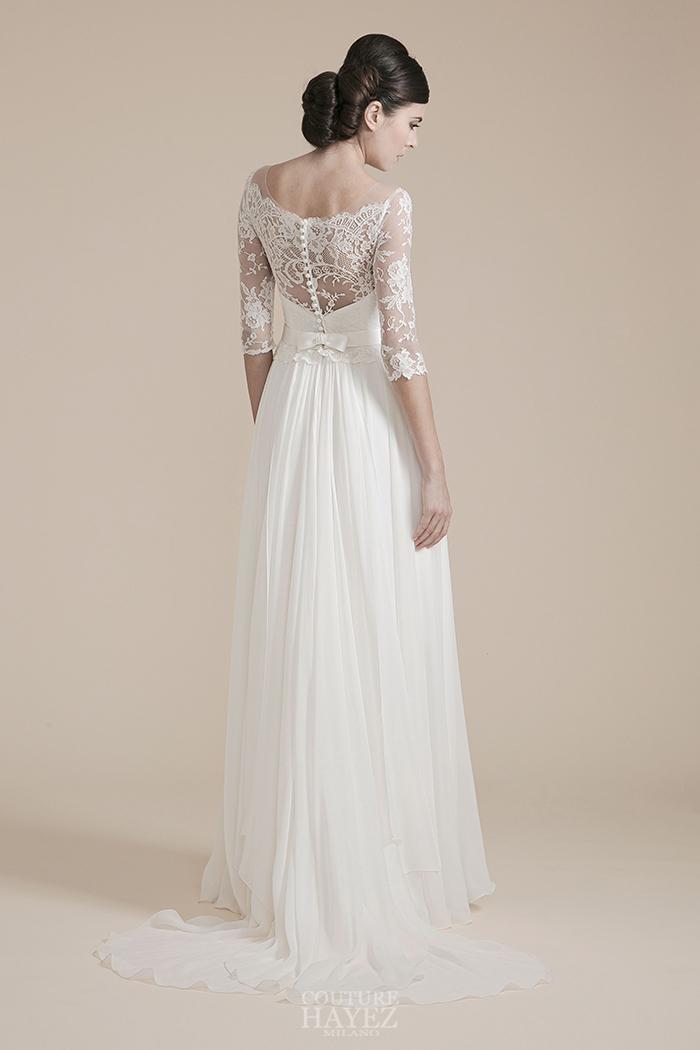 abito sposa schiena in pizzo, abito sposa pizzo haute couture, abito sposa maniche tre quarti