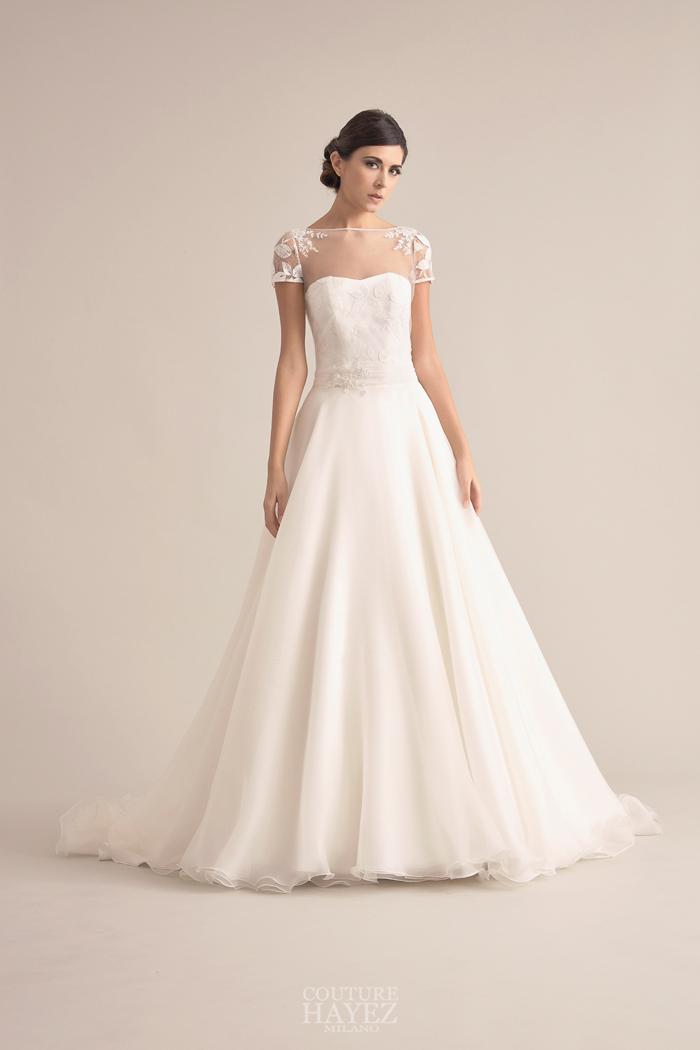 abito sposa gonna ampia, abito sposa romantico, abito sposa organza di seta