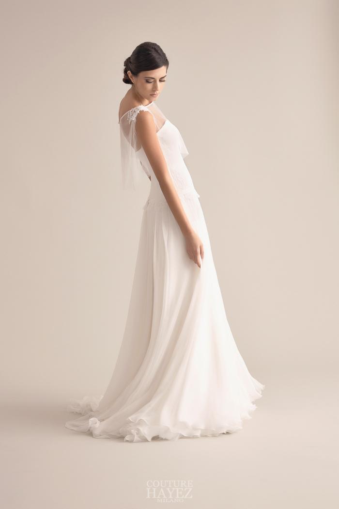 abito sposa movimento leggero, abito sposa fluttuante, abito sposa chiffon mantellina