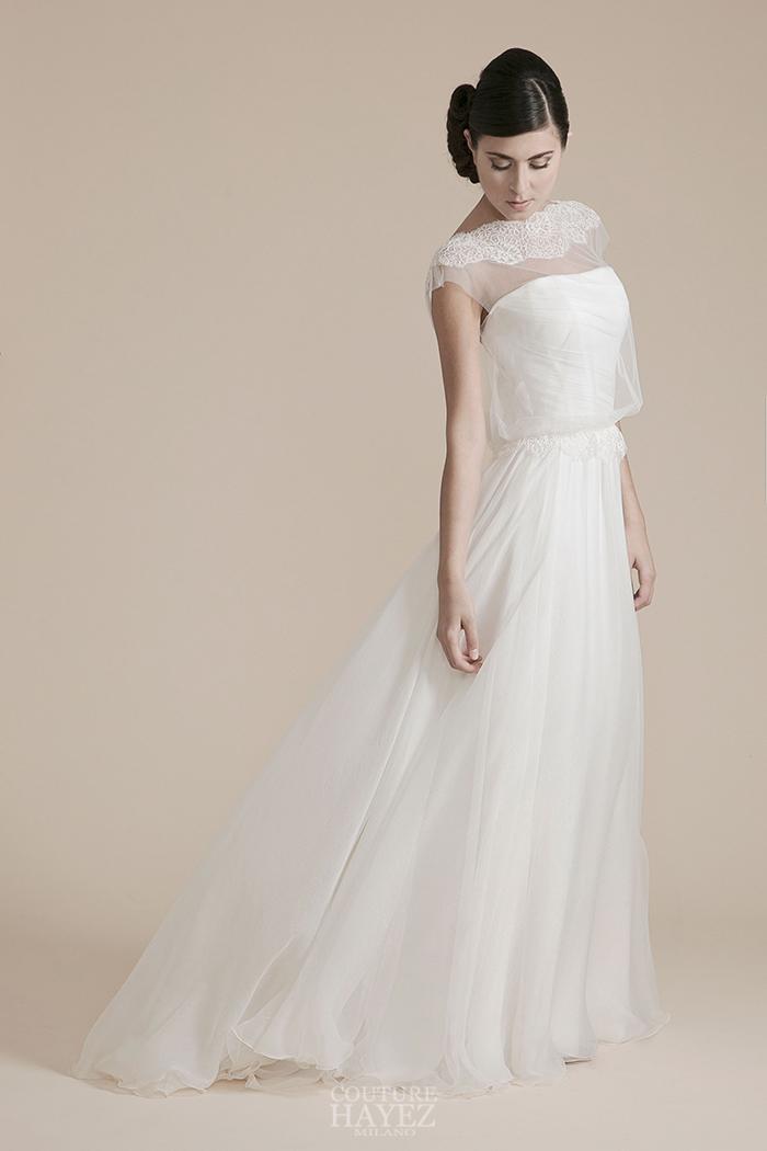 abito sposa in chiffon, abito sposa drappeggiato a mano, abiti sposa lavorazione artigianale