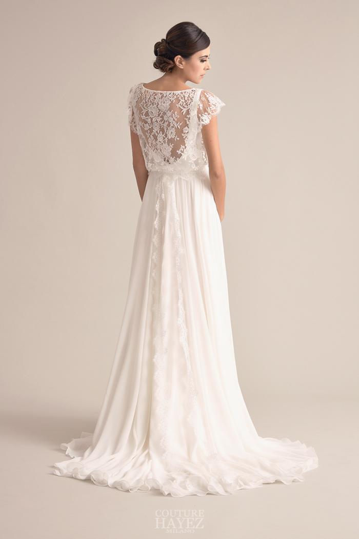 abito sposa con schiena in pizzo, abito sposa spalle coperte, abito sposa pizzo francese