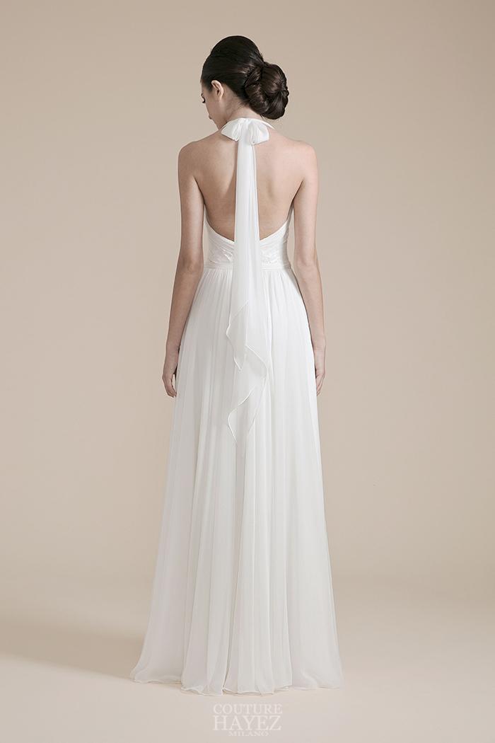 abito sposa nastro dietro al collo, abito sposa schiena nuda, abito sposa fascia dietro al collo