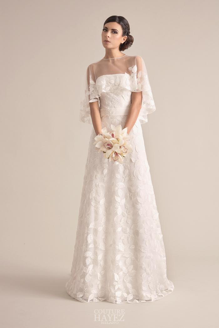 abito sposa ramage di foglie, abito sposa con mantella, abito sposa lusso
