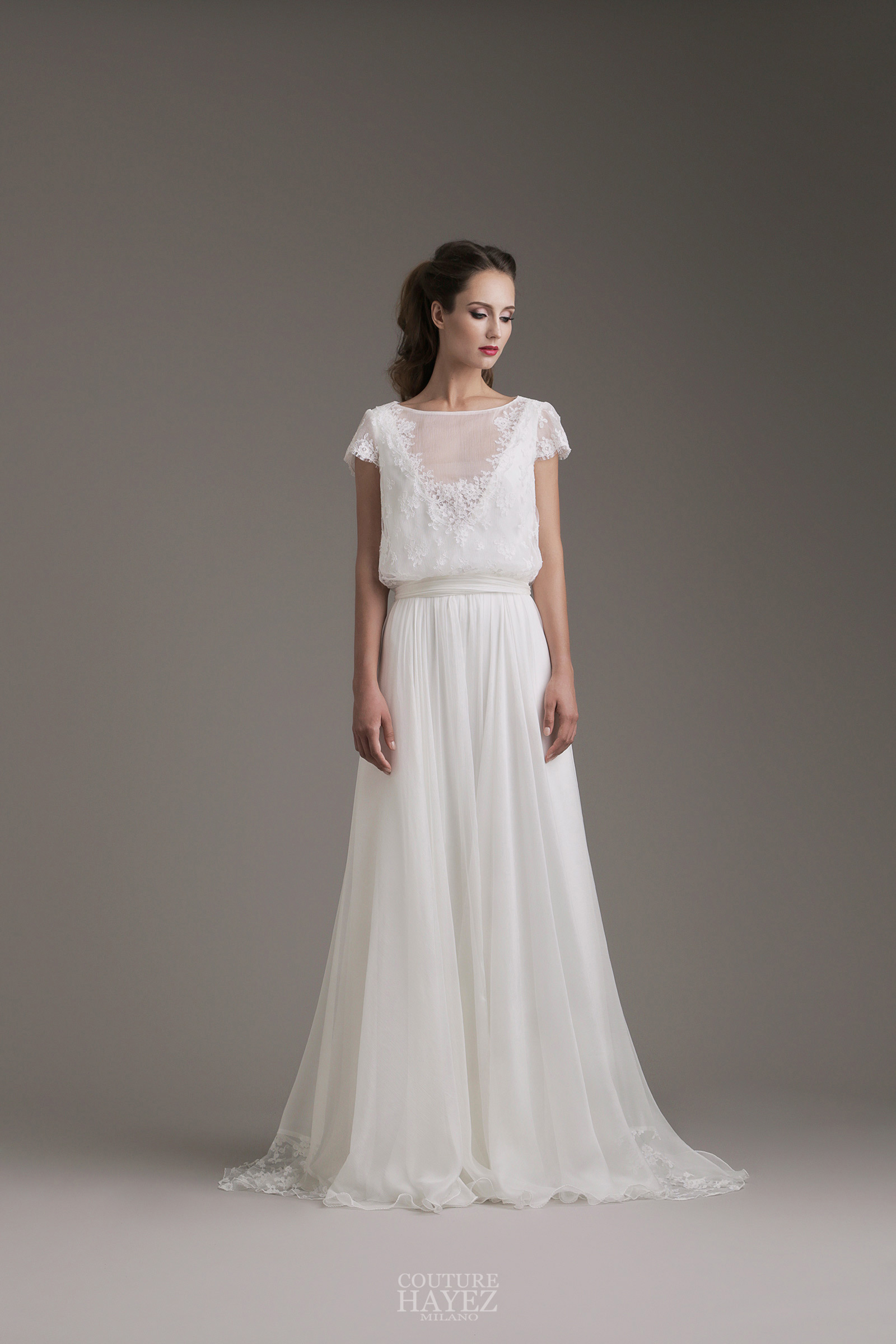 online store c4aa1 6eb29 Kylie: abito sposa in chiffon e pizzo francese