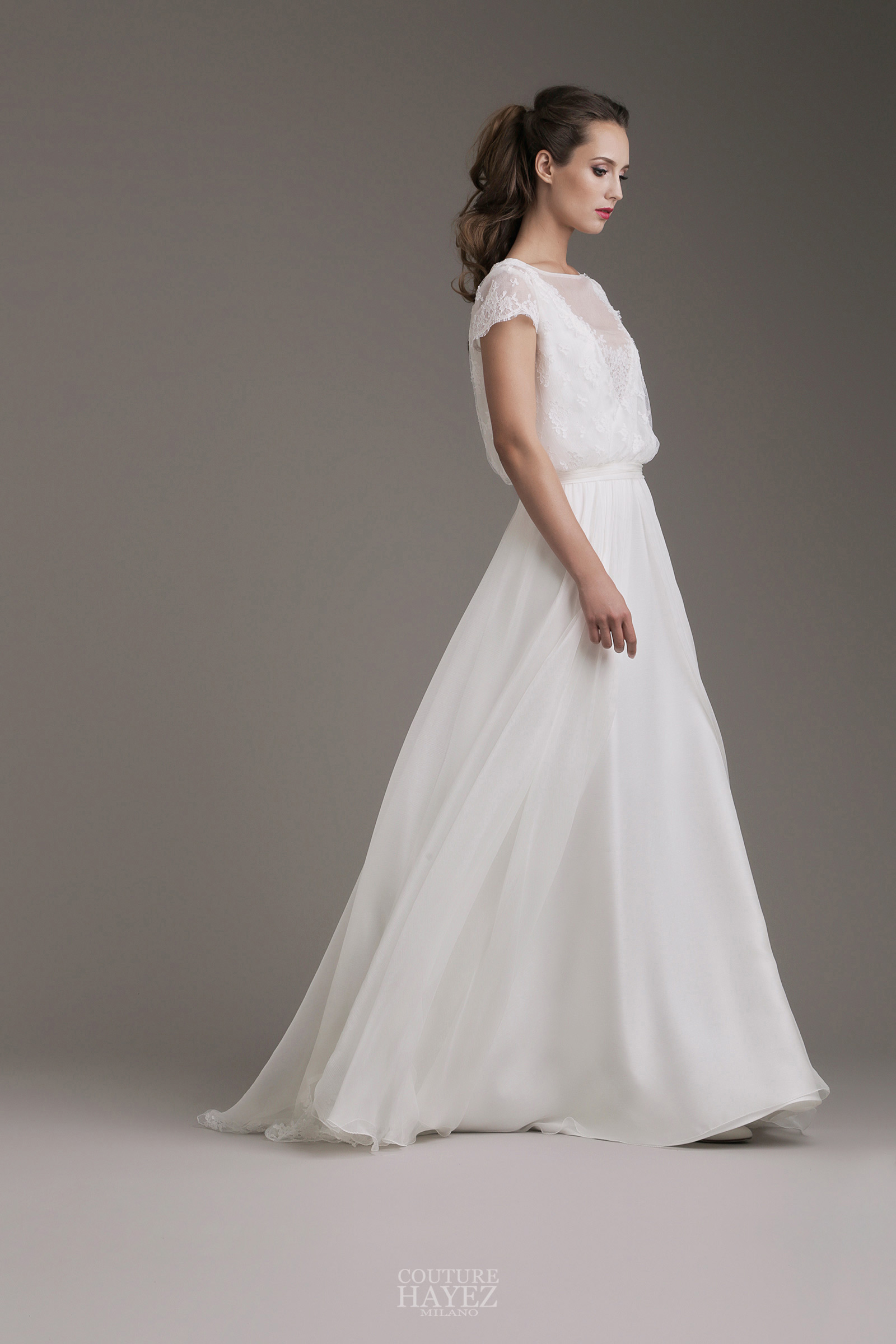 60511265d615 Kylie  abito sposa in chiffon e pizzo francese - Couture Hayez Milano
