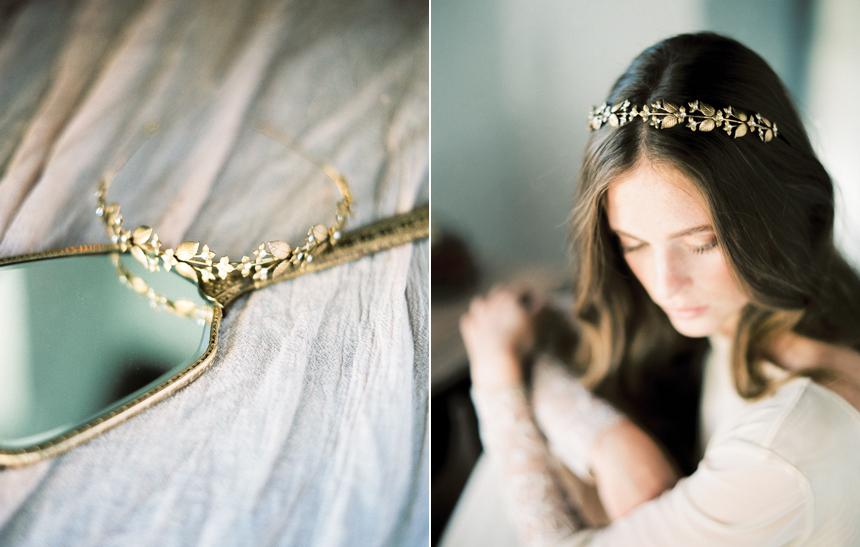 coroncina dorata floreale, acconciatura boho, accessori sposa, sposa romantica