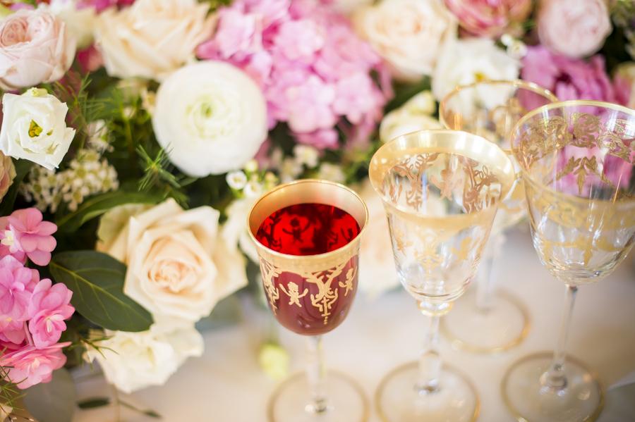 bicchieri in cristallo e oro zecchino modello empoli, reggia di monza mise en place