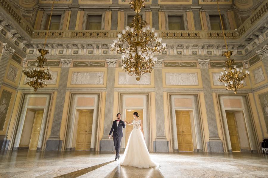 ballo degli sposi sala del trono reggia di monza, party sera matrimonio, cambio abito sposi