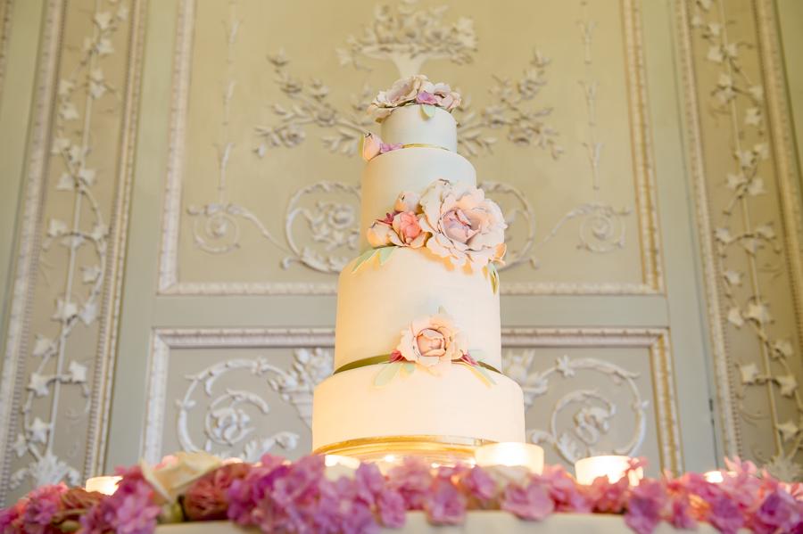 wedding cake a quattro piano con rose, elisa croci cake plaster