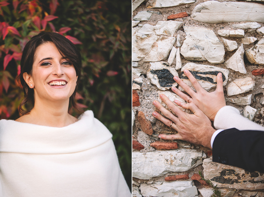 coprispalle in lana sposa, sposa d'inverno, acconciatura sposa raccolta, foto mani con fedi