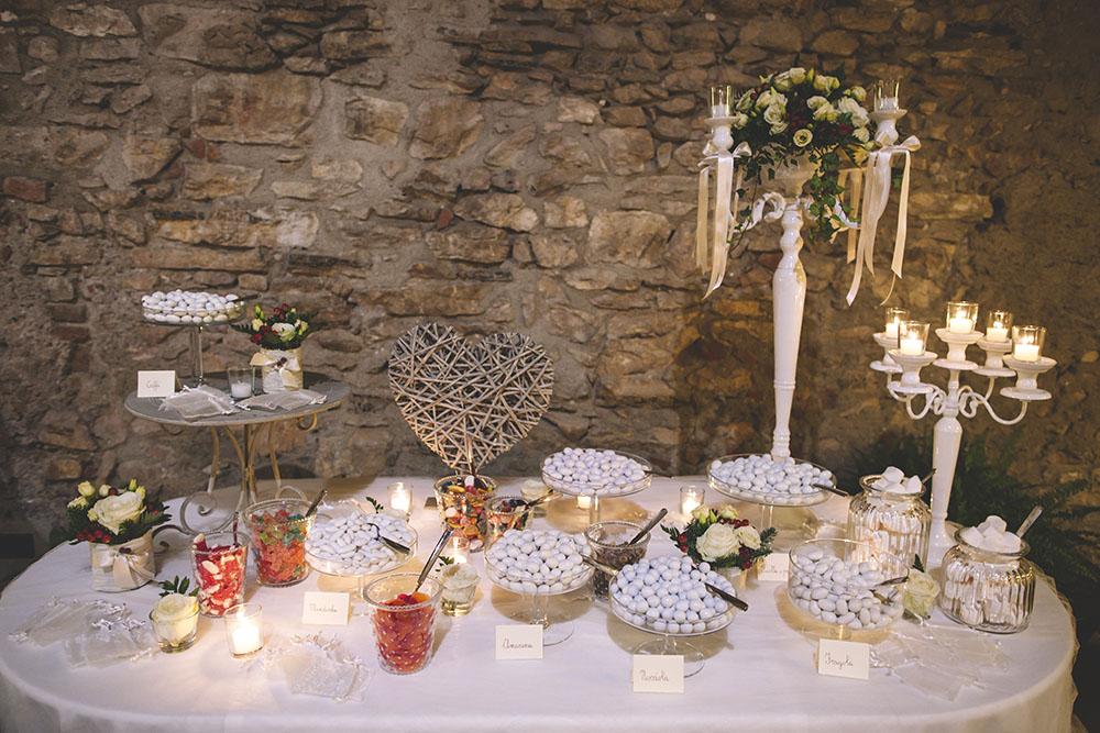 tavolo confetti, allestimento tavolo confetti invernale, confettata