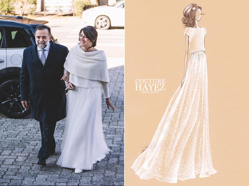 figurino abito sposa couturehayez, coprispalle maglia sposa, matrimonio invernale