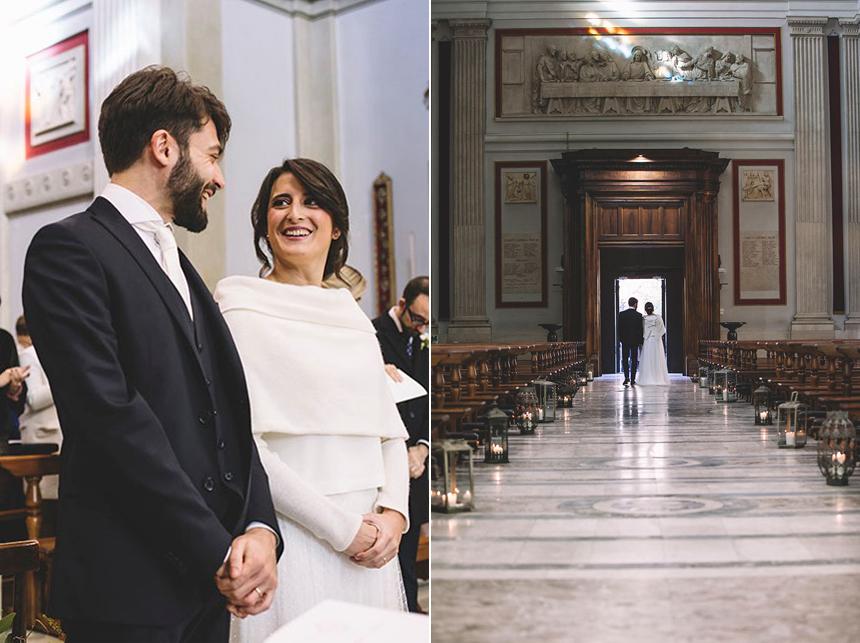 sposi in chiesa, matrimonio invernale, coprispalle in maglia