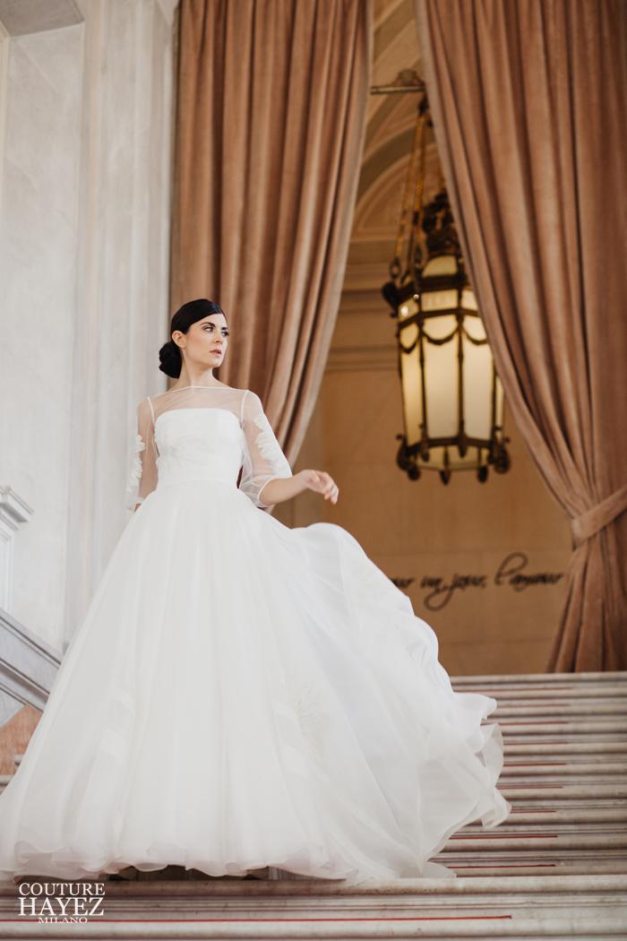 abito principessa in organza bianco e oro couture hayez, abito da sposa per matrimonio esclusivo, abiti sposa 2020