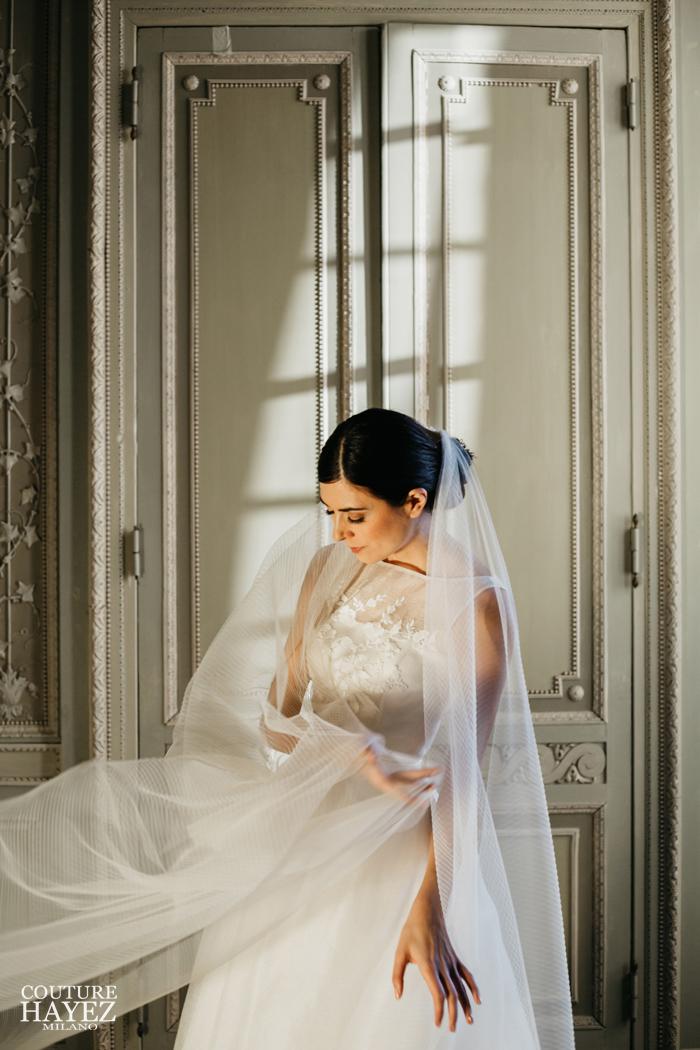velo sposa medio con tulle plisse, abito sposa bon ton