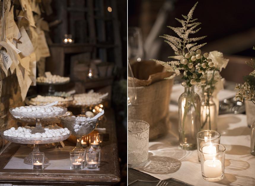 confetti, vasetti portacandele, e allestimento floreale ispirazione