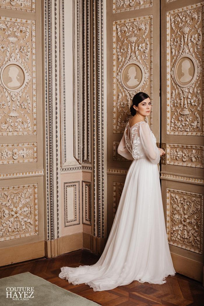 blusa sposa con maniche lunghe in chiffon alla reggia